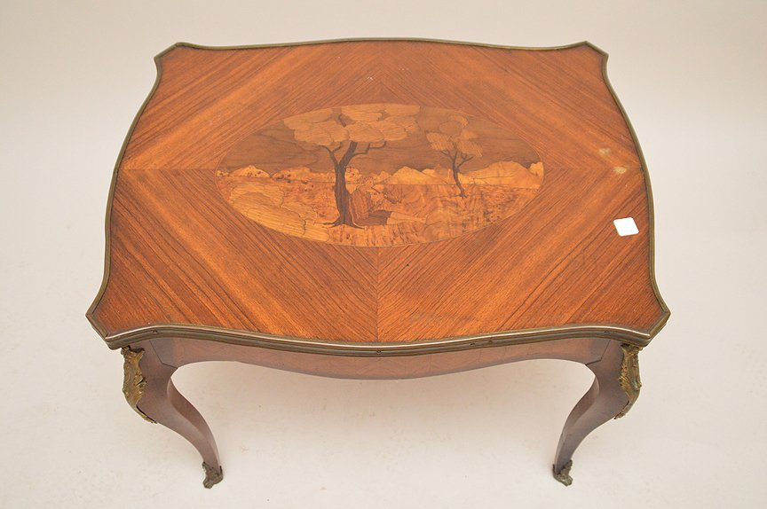 French Inlaid Cocktail Table with bronze mounts.  Ht. - 2