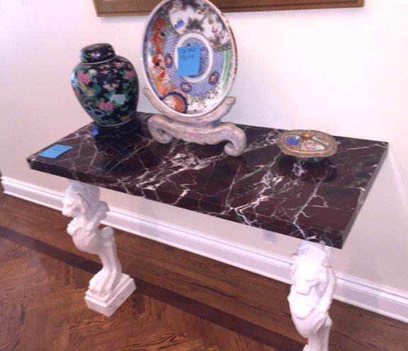 Italian Carved Marble Console.  The base two carved