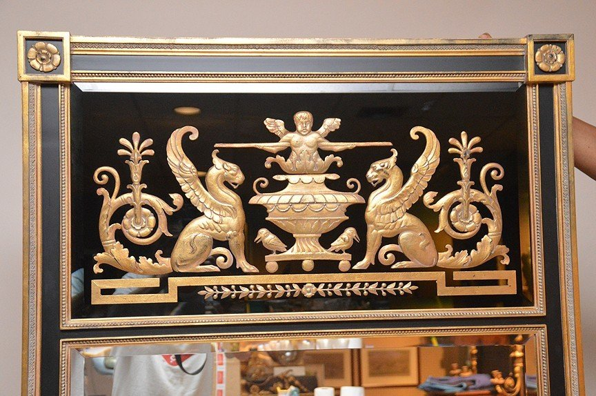 "Large Gilt wood Trumeau With Griffins.  73"" x 31"" - 2"