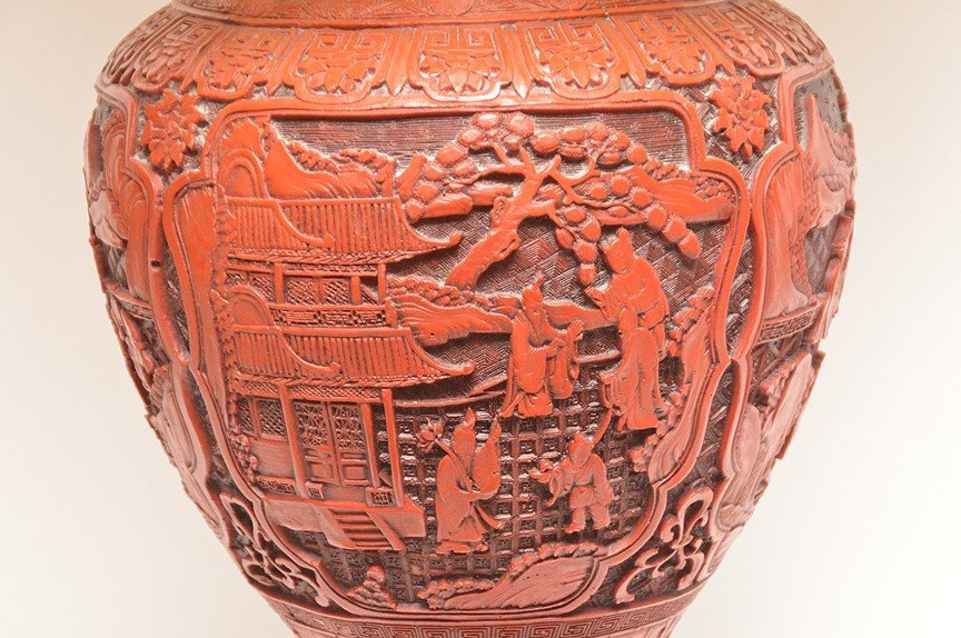 Large Carved Cinnabar Urn Form Lamp.  Ht. 20  Overall - 3