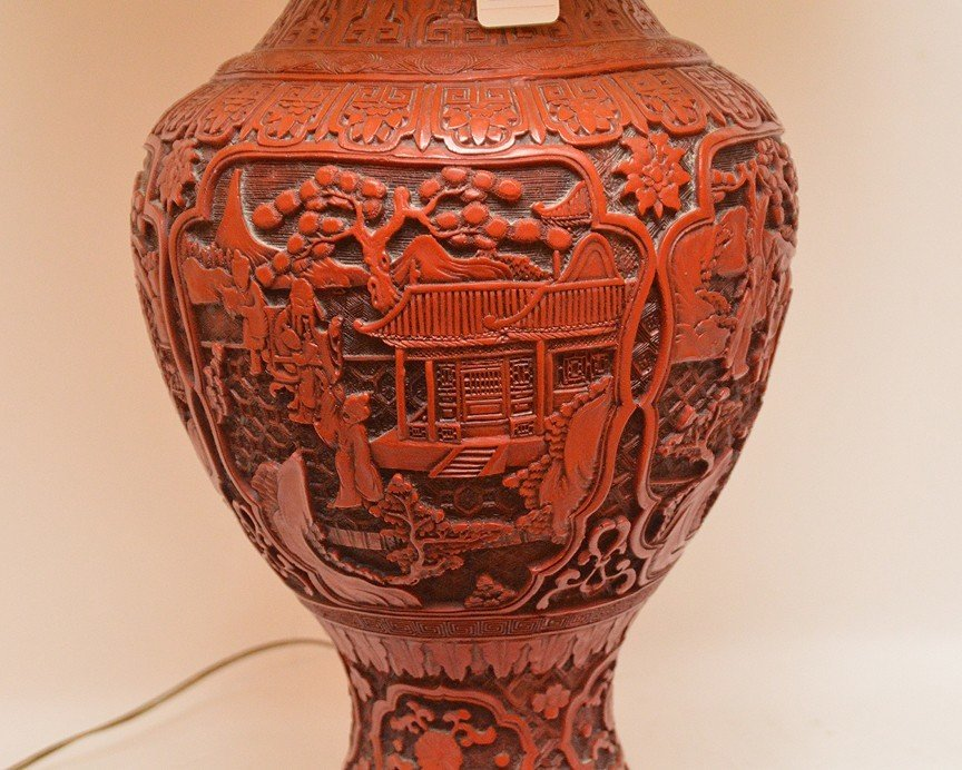 Large Carved Cinnabar Urn Form Lamp.  Ht. 20  Overall - 4