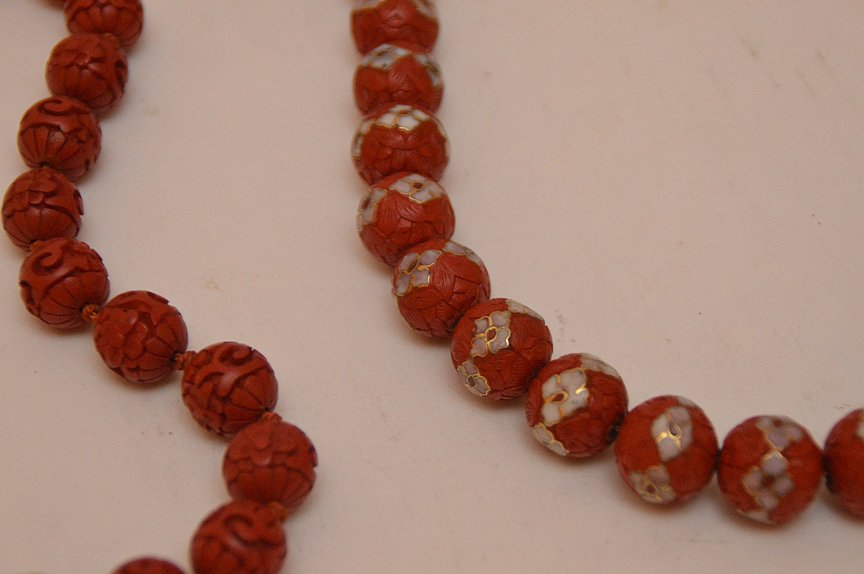 Lot 5 Assorted Cinnabar Necklaces.  2 With Cloisonné - 2