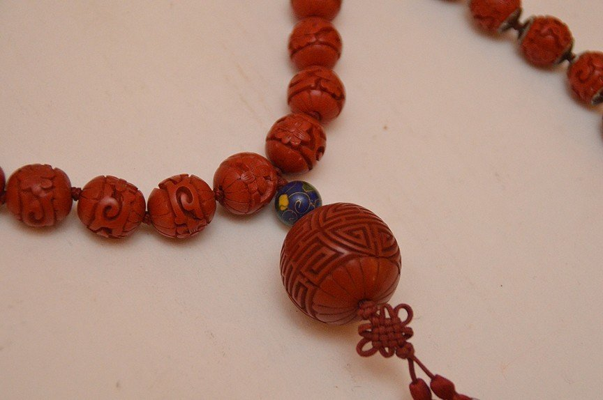Lot 5 Assorted Cinnabar Necklaces.  2 With Cloisonné - 3