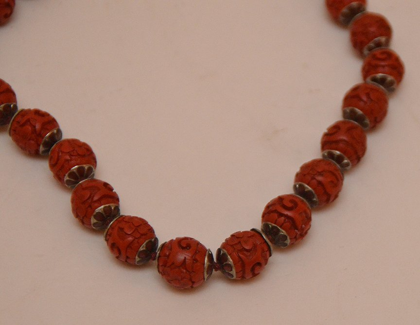 Lot 5 Assorted Cinnabar Necklaces.  2 With Cloisonné - 4