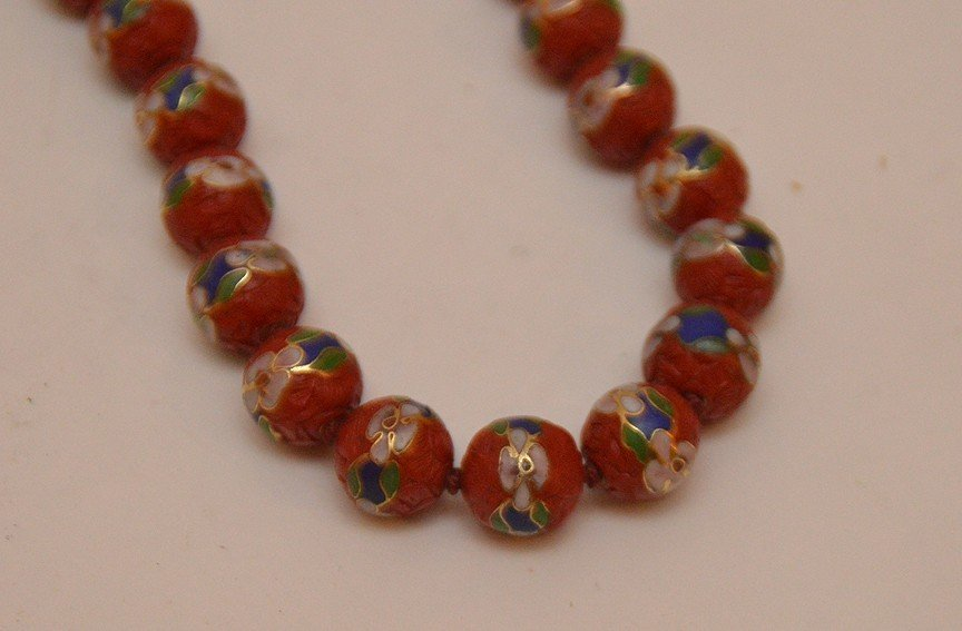 Lot 5 Assorted Cinnabar Necklaces.  2 With Cloisonné - 5