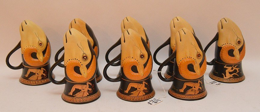 8 Egyptian Pottery Mugs in the form of Rhyton 450 BC