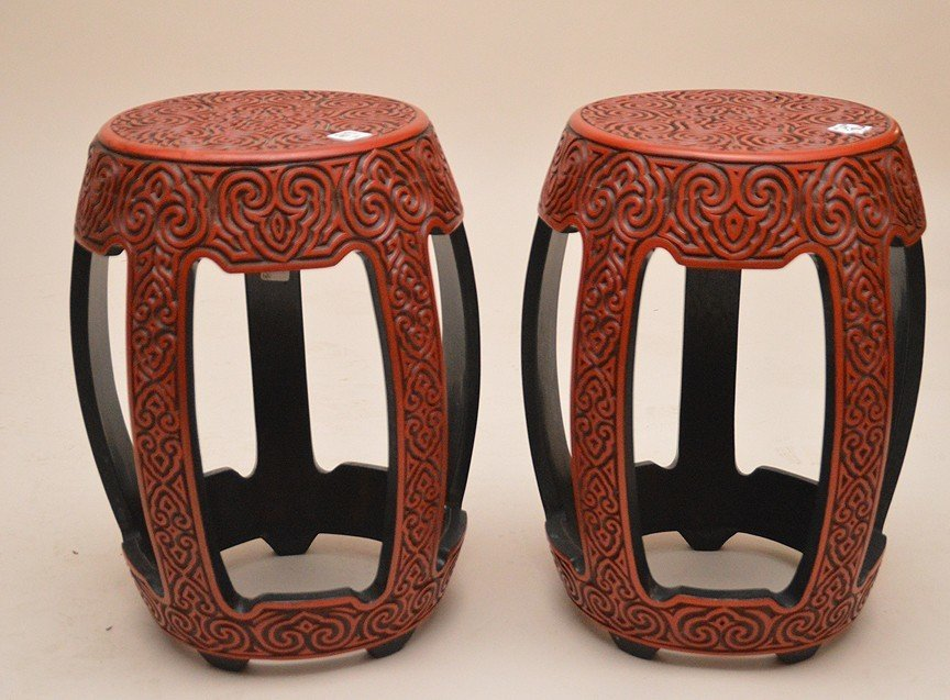 "Pair Vintage Carved Cinnabar Tables. Ht. 18"" Top dia."