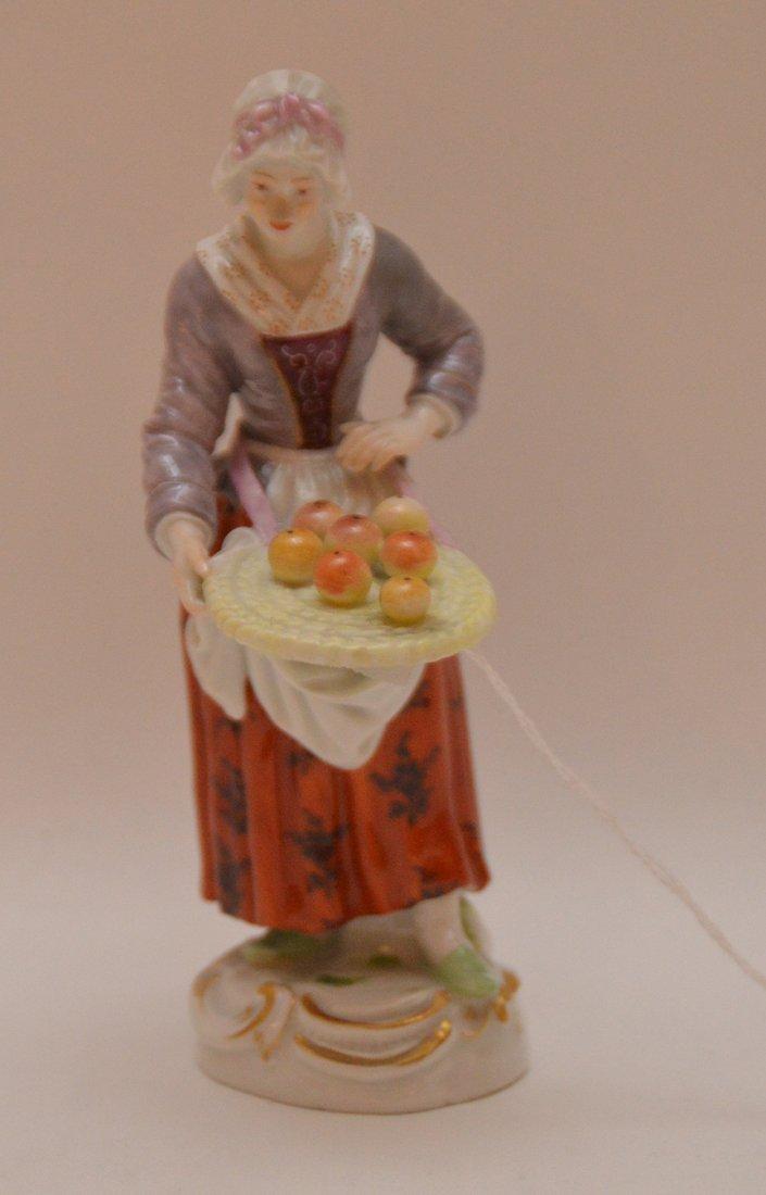 Meissen Porcelain Figure woman with fruit basket, Ht. 5