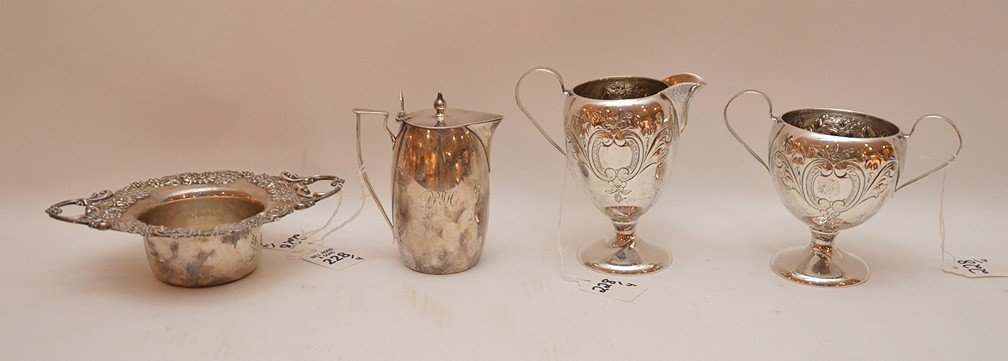 """4 Pieces Assorted Sterling. Sugar & Creamer Ht. 4 7/8"""","""