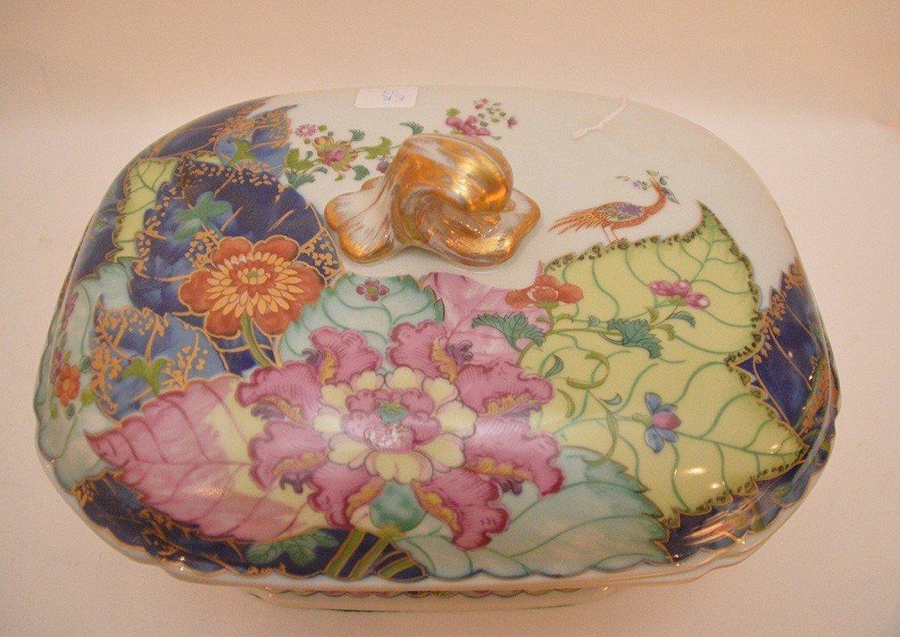 """Mottahedeh porcelain """"Tobbaco Leaf"""" large tureen, 9""""h x - 3"""