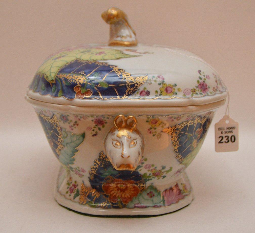"""Mottahedeh porcelain """"Tobbaco Leaf"""" large tureen, 9""""h x - 5"""