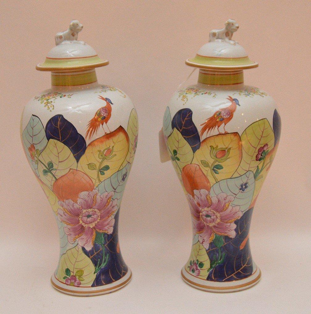 """Pair Mottahedeh porcelain """"Tobacco Leaf"""" urns, 11 1/2""""h"""