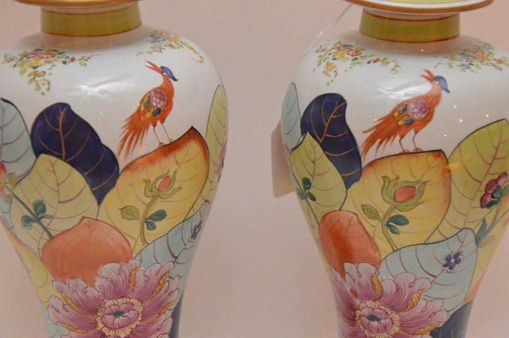 """Pair Mottahedeh porcelain """"Tobacco Leaf"""" urns, 11 1/2""""h - 2"""