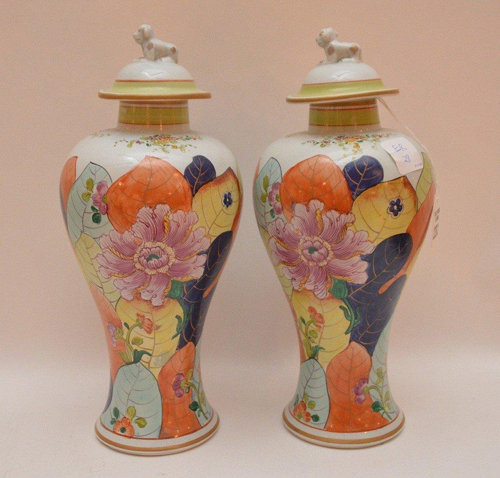 """Pair Mottahedeh porcelain """"Tobacco Leaf"""" urns, 11 1/2""""h - 4"""