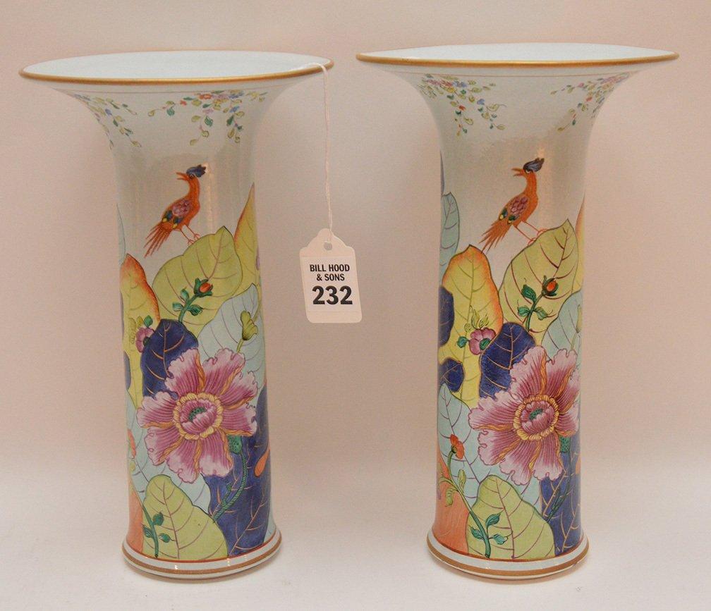 """Pair Mottahedeh porcelain """"Tobacco Leaf"""" trumpet vases,"""