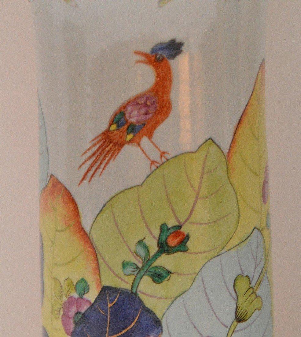 """Pair Mottahedeh porcelain """"Tobacco Leaf"""" trumpet vases, - 2"""
