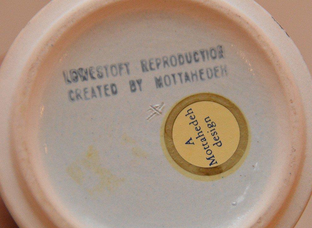 """Pair Mottahedeh porcelain """"Tobacco Leaf"""" trumpet vases, - 4"""