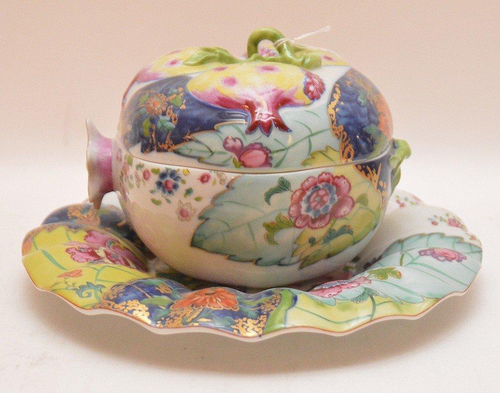 """Mottahedeh porcelain """"Tobacco Leaf"""" Pomegranate box"""