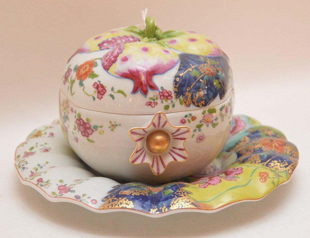 """Mottahedeh porcelain """"Tobacco Leaf"""" Pomegranate box - 2"""