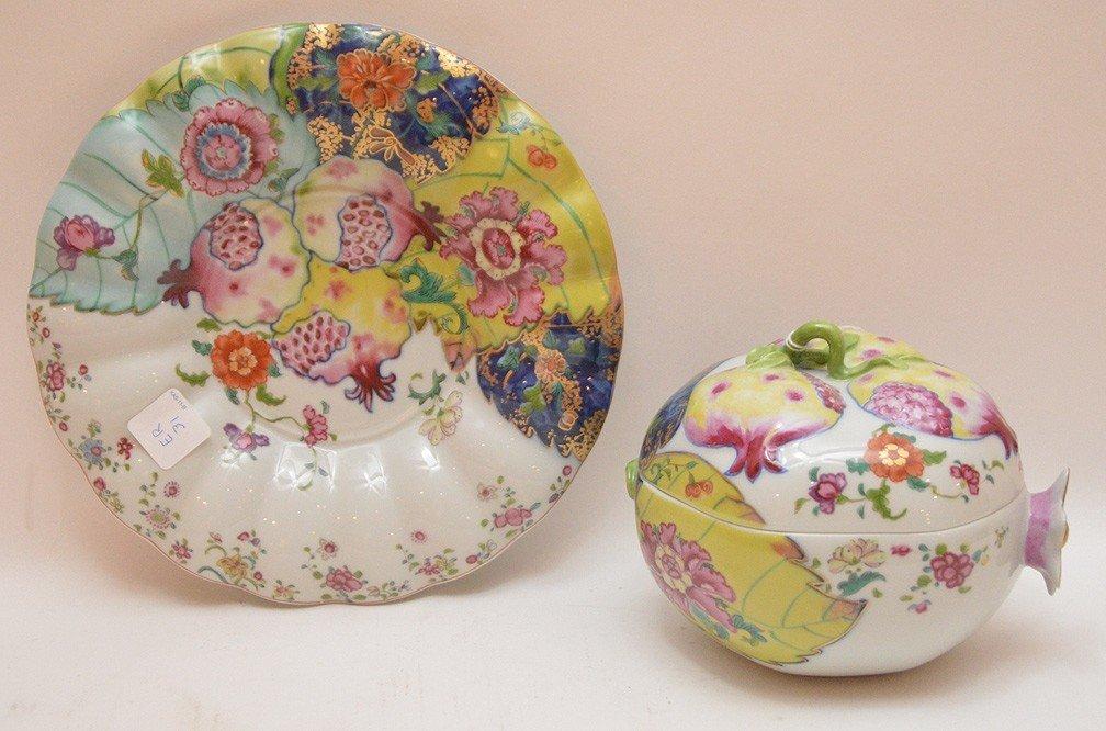 """Mottahedeh porcelain """"Tobacco Leaf"""" Pomegranate box - 4"""