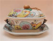 Mottahedeh porcelain Tobacco Leaf small tureen with