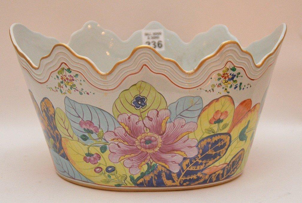 "Mottahedeh ""Tobacco Leaf"" Porcelain Cache Pot Ht. 8"""