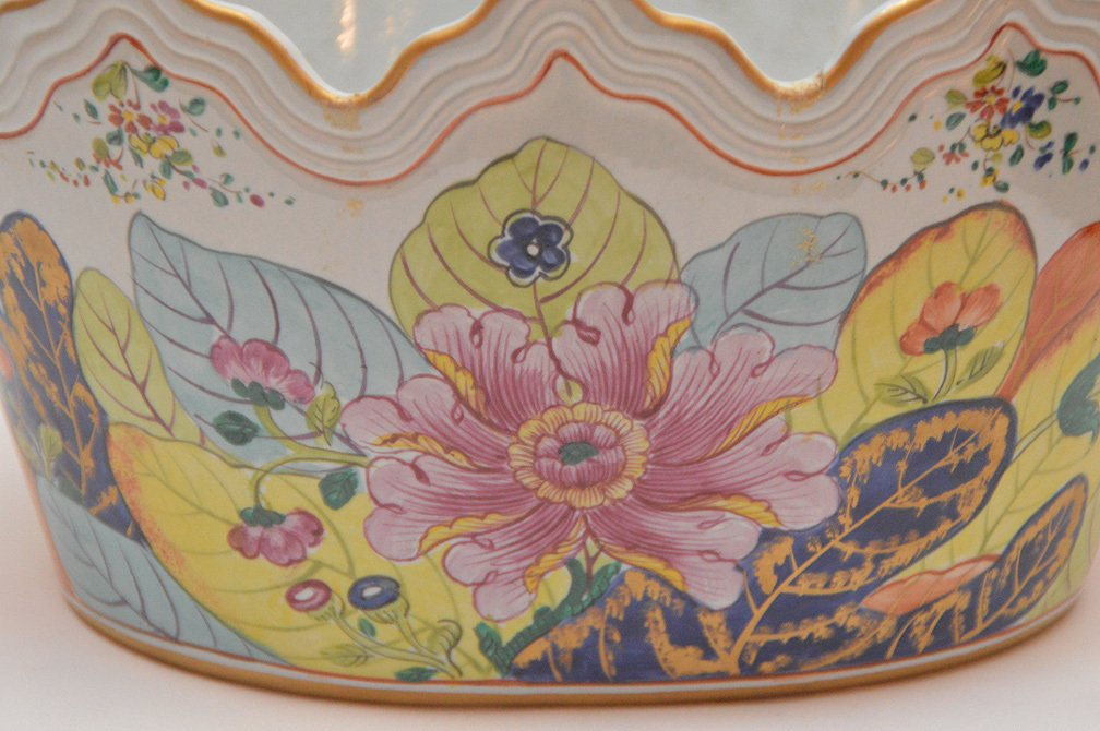 "Mottahedeh ""Tobacco Leaf"" Porcelain Cache Pot Ht. 8"" - 2"