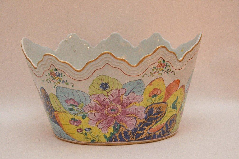 "Mottahedeh ""Tobacco Leaf"" Porcelain Cache Pot Ht. 8"" - 3"