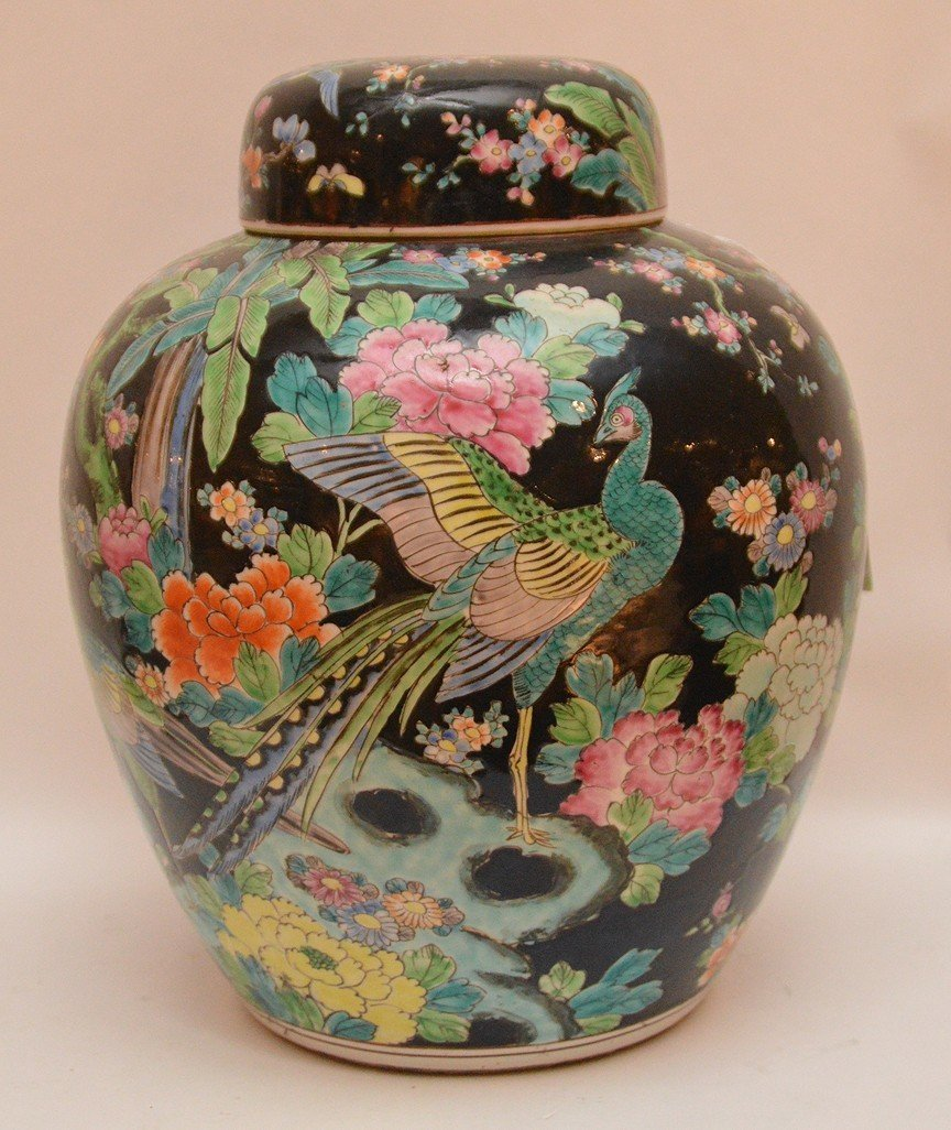 """Chinese Porcelain Jar and Cover.  Ht, 12 3/4"""""""