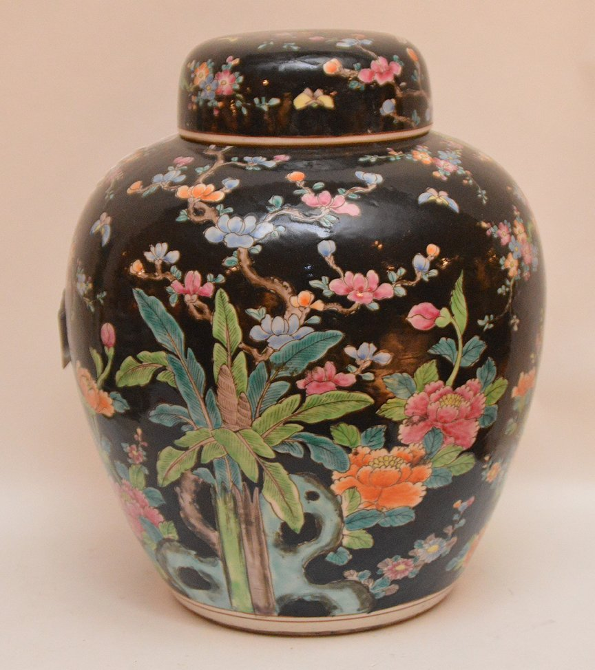 """Chinese Porcelain Jar and Cover.  Ht, 12 3/4"""" - 3"""