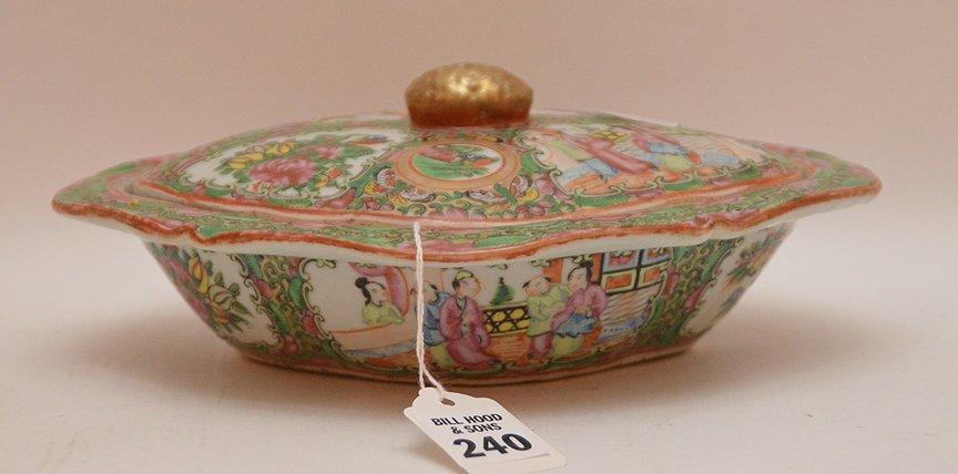 Rose Medallion Porcelain Covered Entrée Dish the top