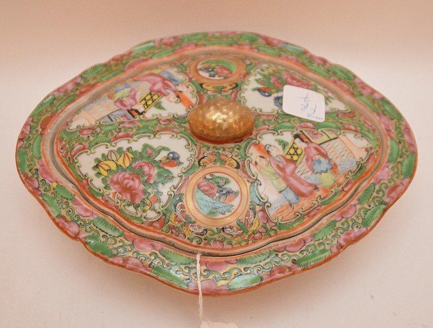 Rose Medallion Porcelain Covered Entrée Dish the top - 2