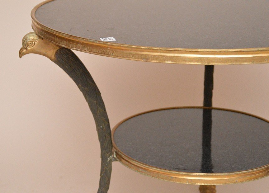 Bronze and Marble Gueridon Table with bird head - 3