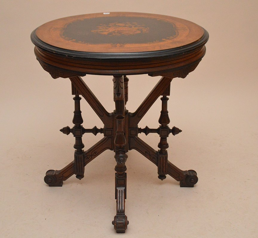 19th Century Round inlaid musical moift Table,