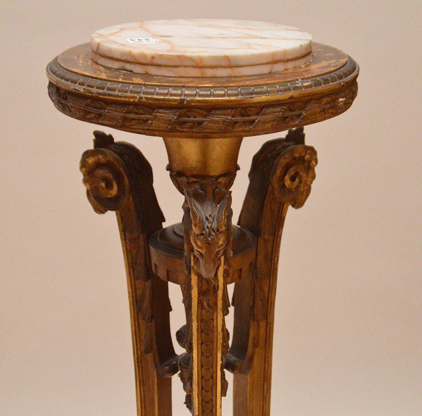 Gilt wood pedestal with 3 ram head supports and onyx - 3