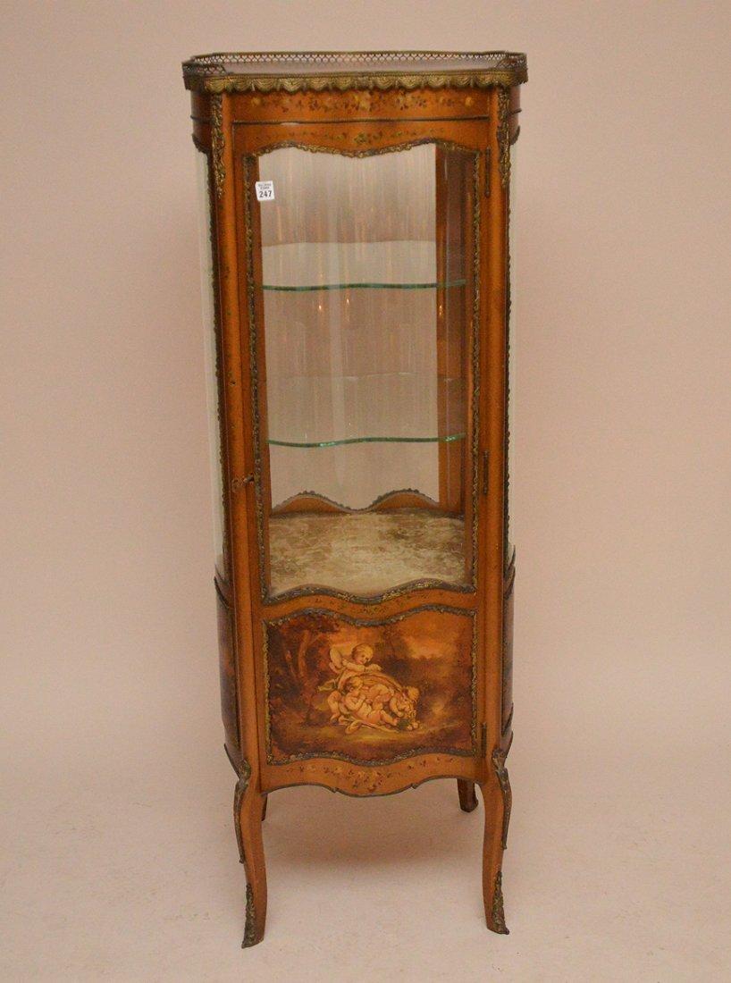 Verni Martin French vitrine with serpentine glass on 4
