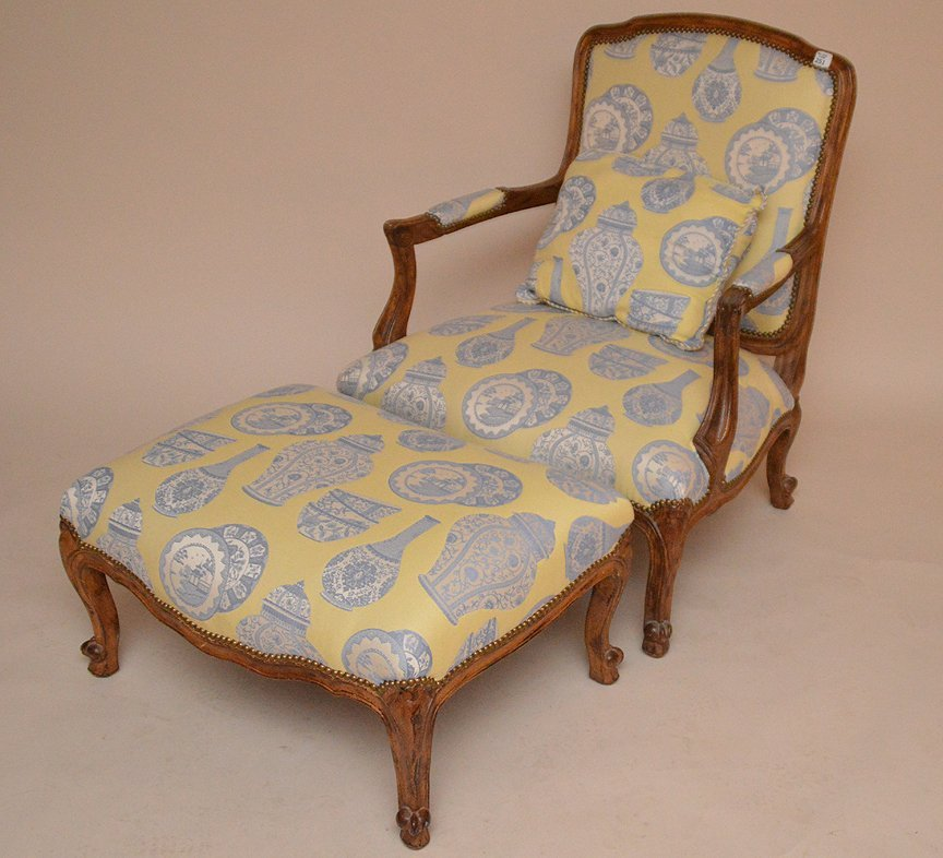 Oversized fauteuil chair with ottoman, yellow & blue
