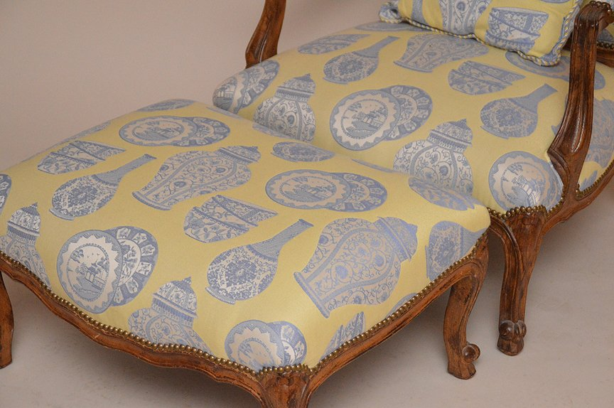 Oversized fauteuil chair with ottoman, yellow & blue - 2