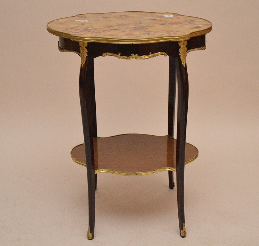 Marble top turtle form French side table with lower
