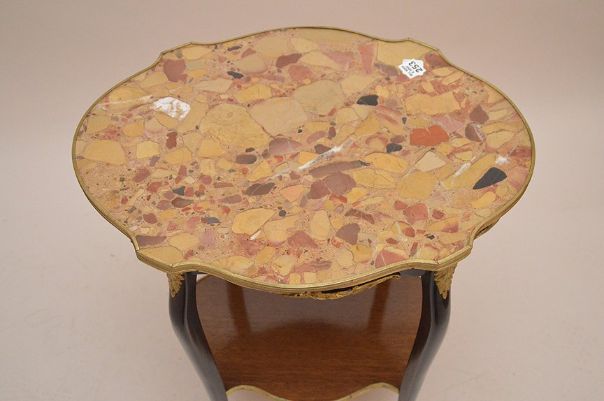 Marble top turtle form French side table with lower - 2