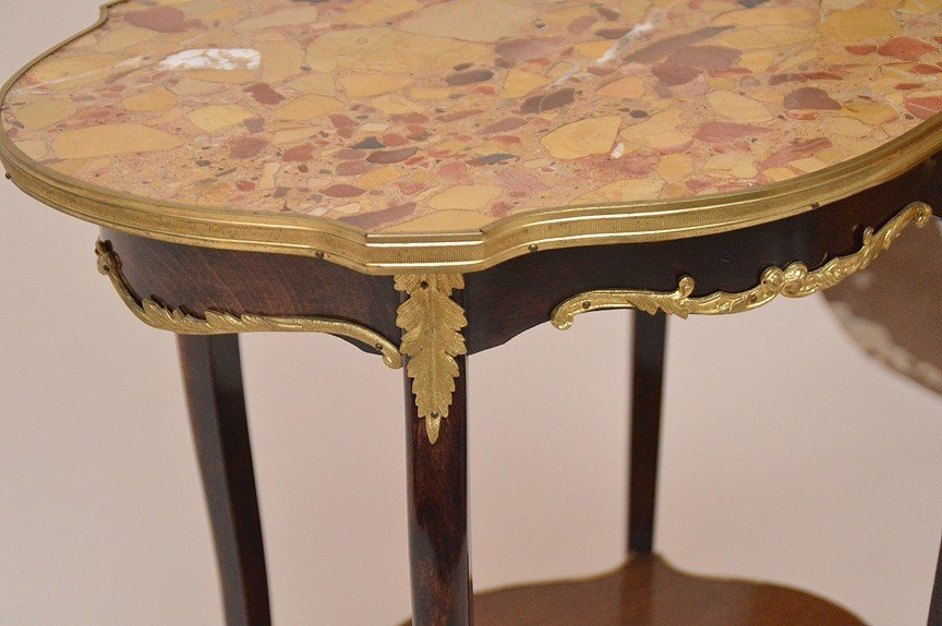 Marble top turtle form French side table with lower - 3