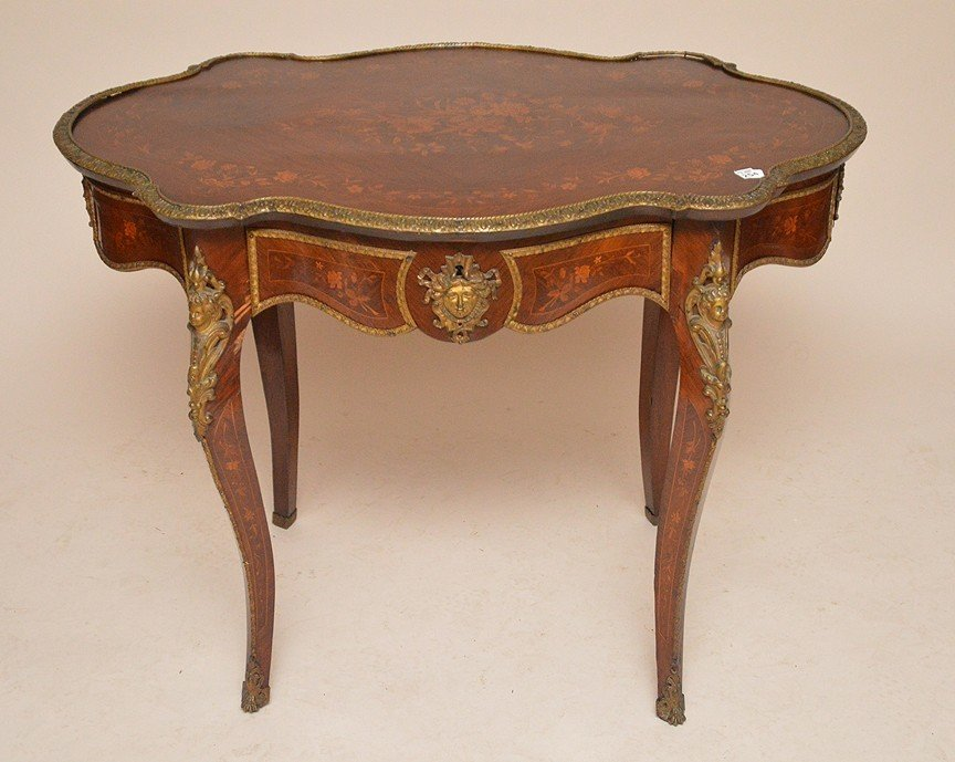 "Floral Marquetry table with gilt metal mounts, 30""h x"