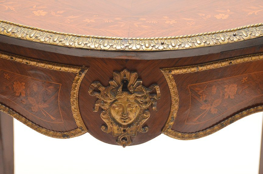 "Floral Marquetry table with gilt metal mounts, 30""h x - 2"