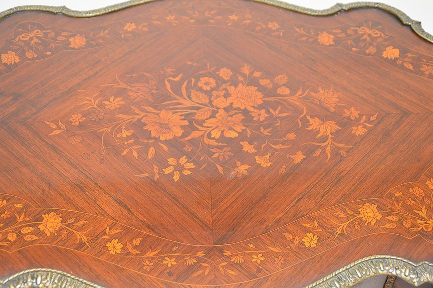 "Floral Marquetry table with gilt metal mounts, 30""h x - 4"