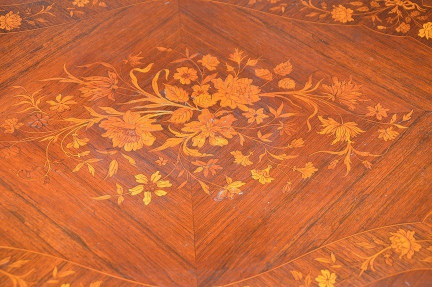 "Floral Marquetry table with gilt metal mounts, 30""h x - 5"