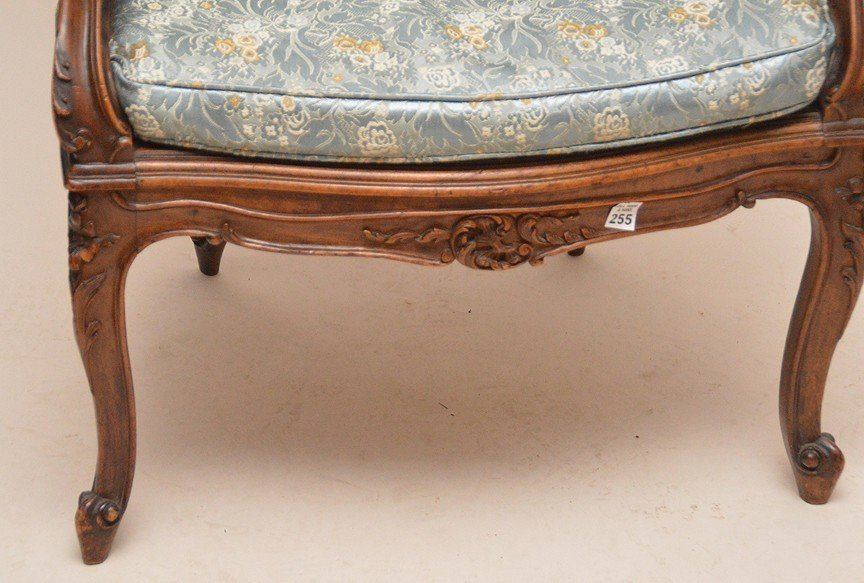 French carved walnut bergere with caned seat, blue - 2