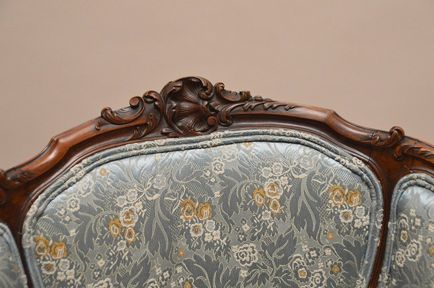 French carved walnut bergere with caned seat, blue - 3