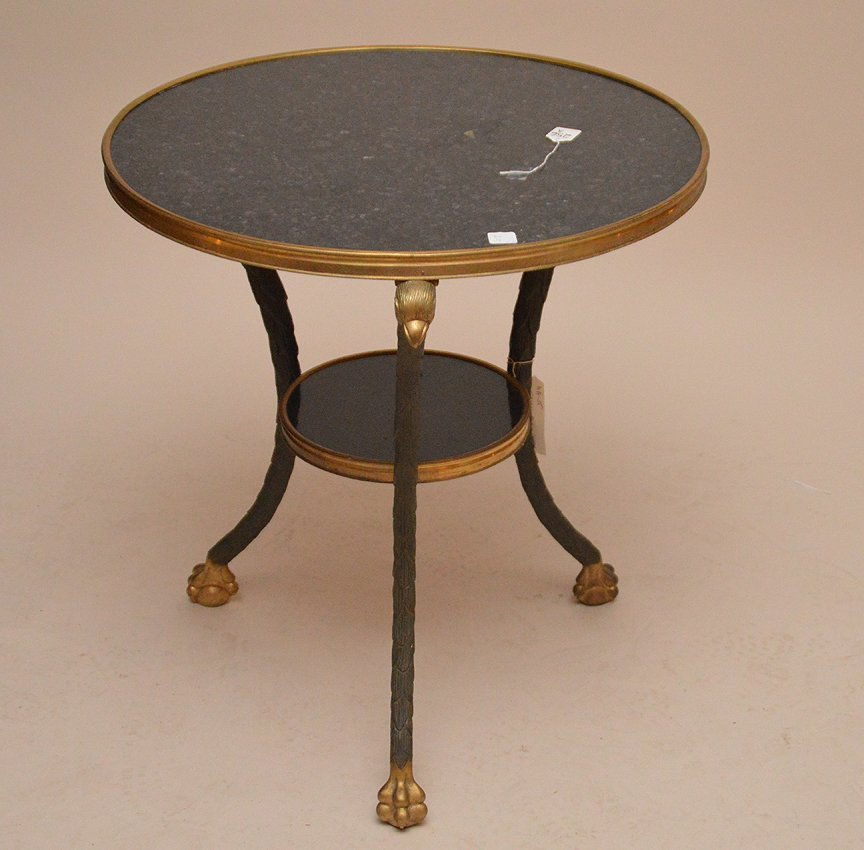 Bronze & Marble Gueridon Table with eagle supports