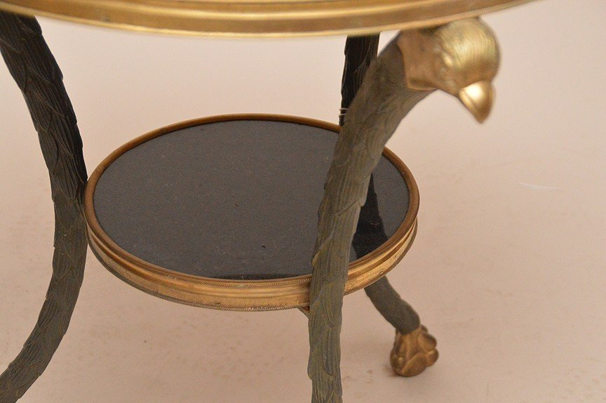 Bronze & Marble Gueridon Table with eagle supports - 3