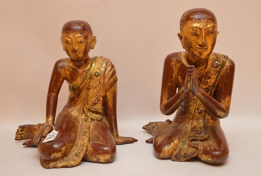 "Pair Carved Gilt Wood Thai Buddha's.  Ht. 13"""